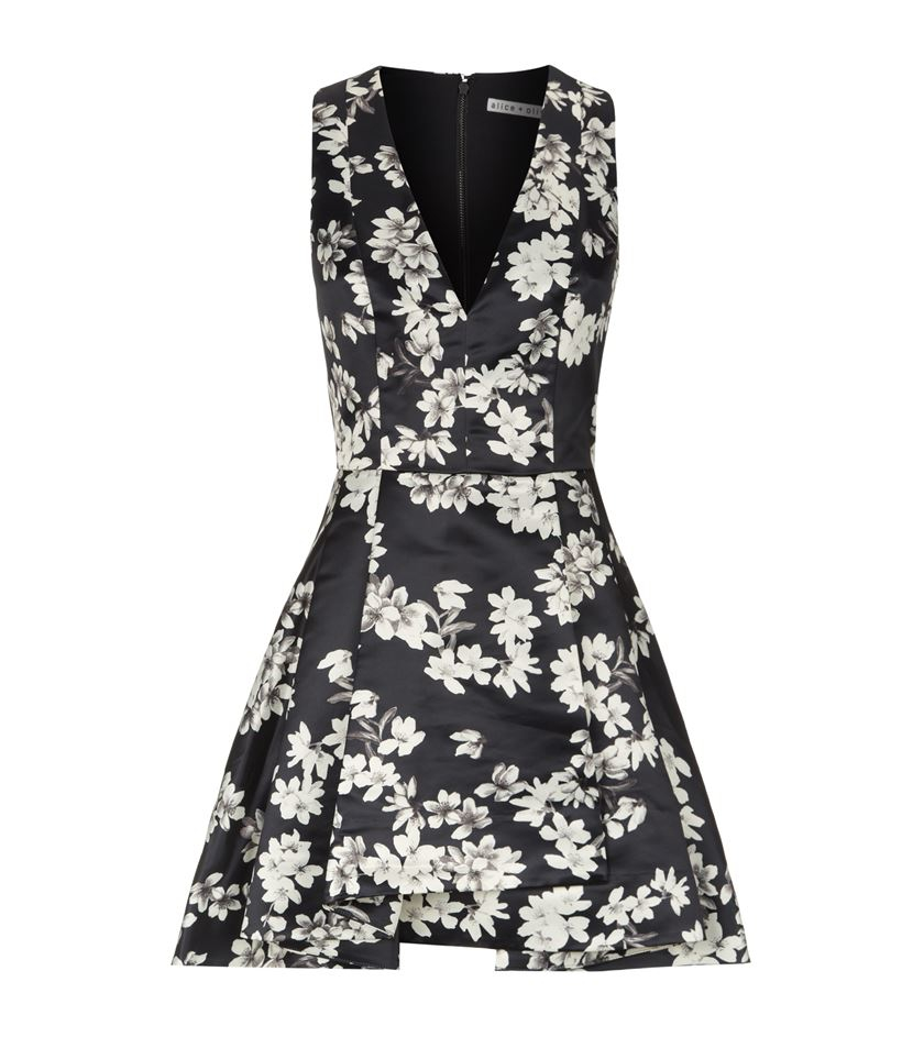 Alice olivia tanner pleated floral dress lyst gallery mightylinksfo