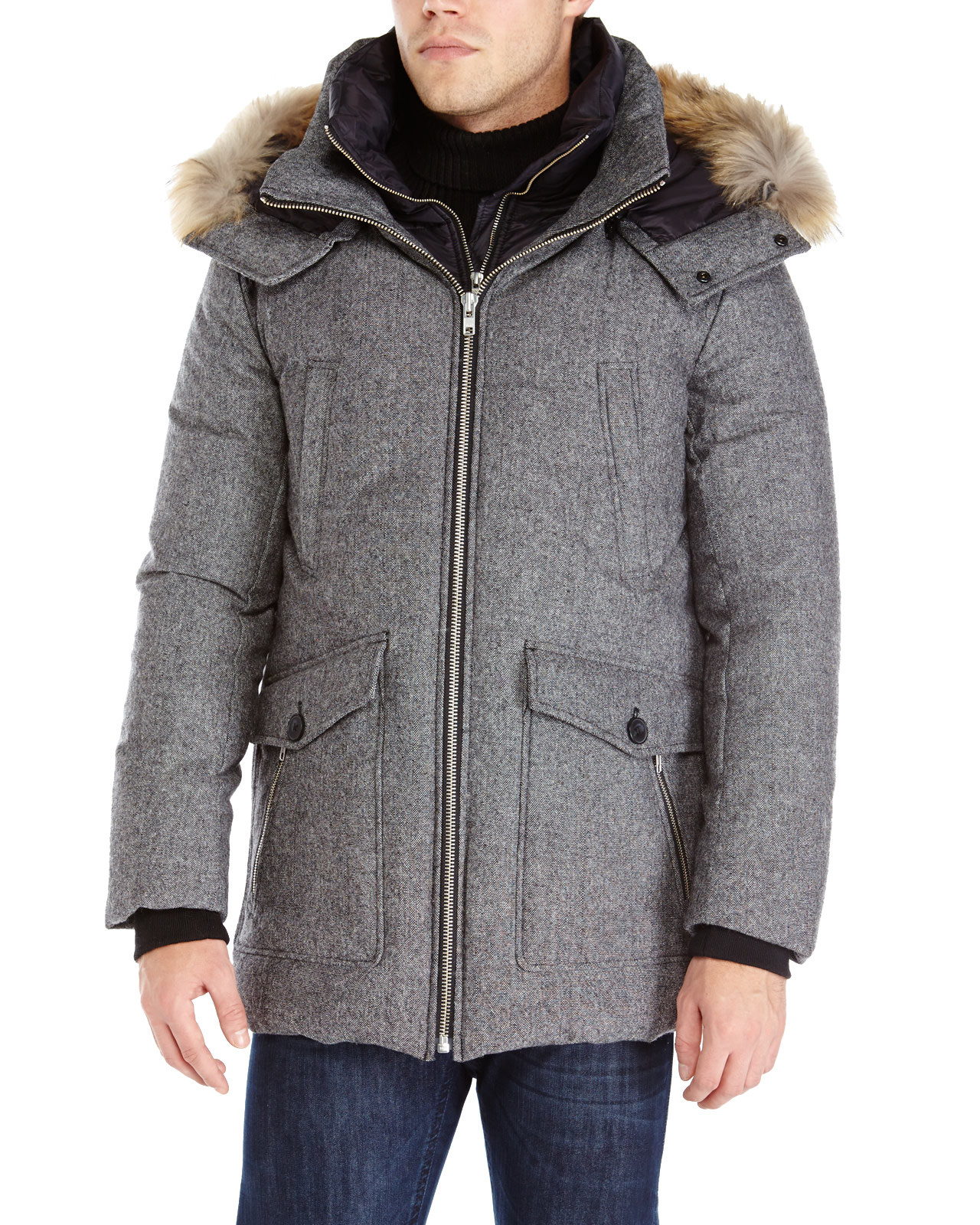 Soia & kyo Grey Real Fur Trim Hooded Down Coat in Gray for Men | Lyst
