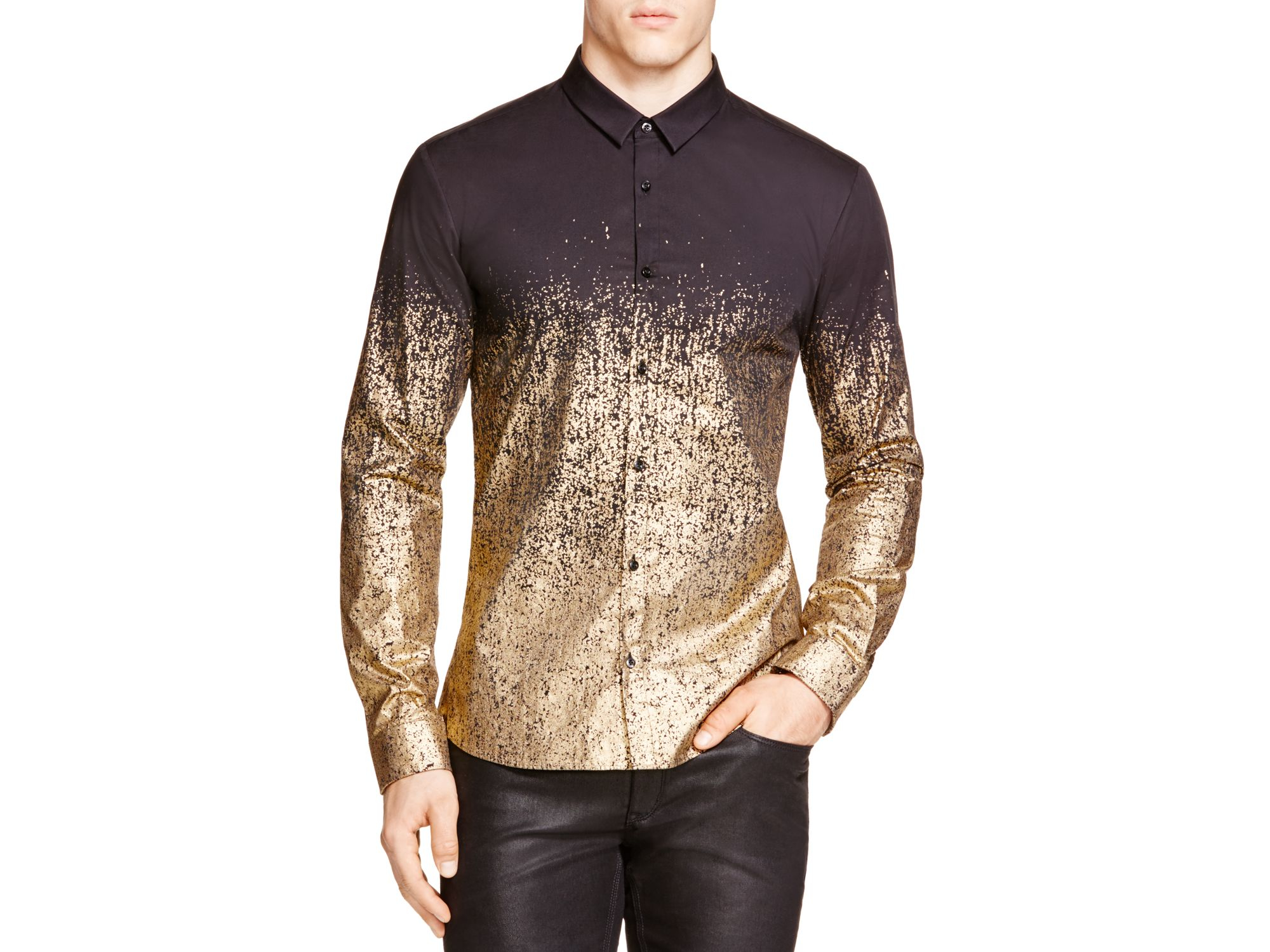 Mens Gold Button Down Shirt | Is Shirt