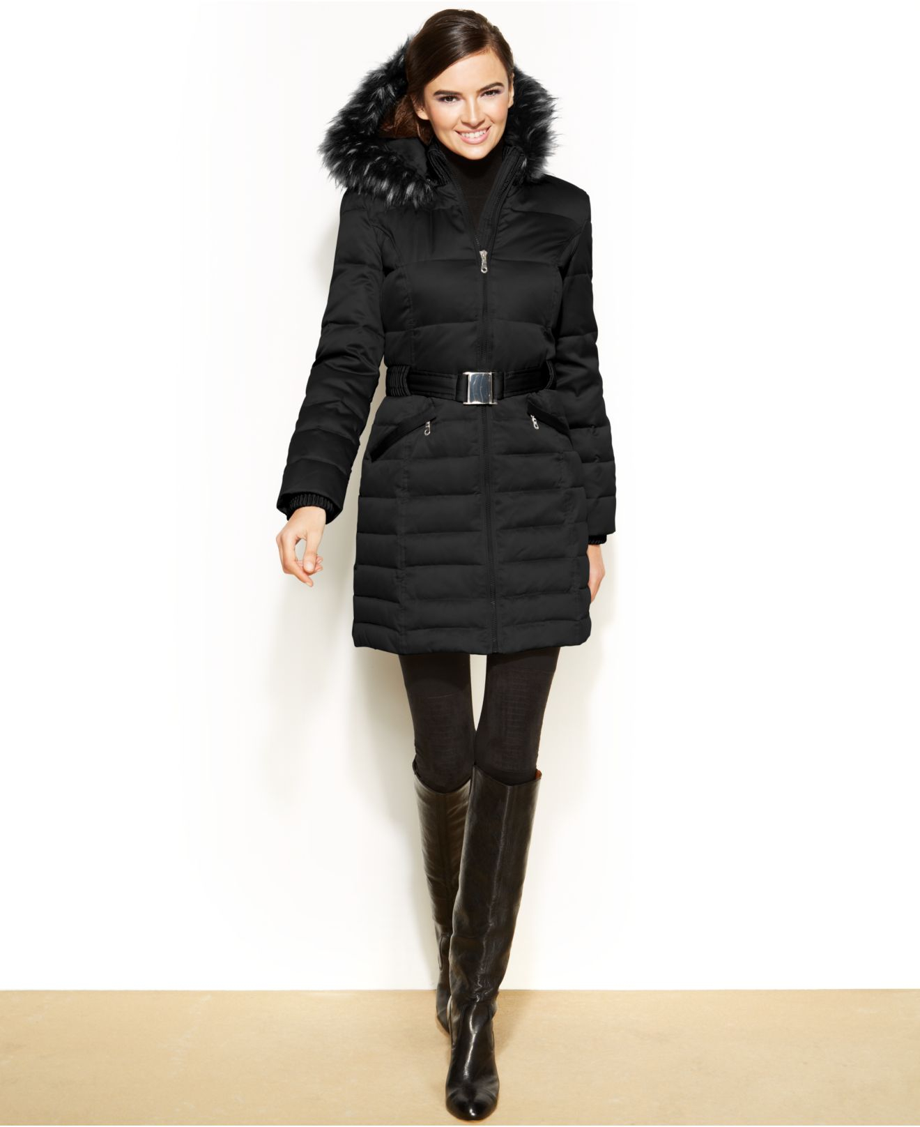 DKNY Hooded Faux-Fur-Trim Belted Down Puffer Coat in Black ...