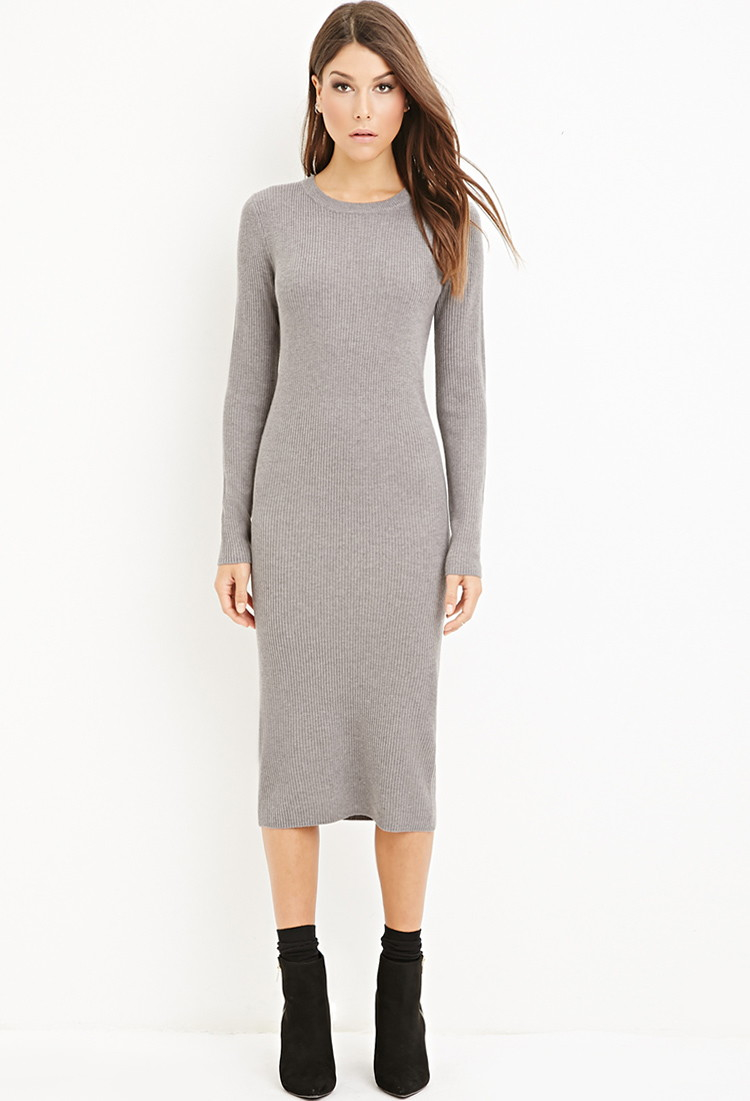 Grey Sweater Midi Dress - Cardigan With Buttons