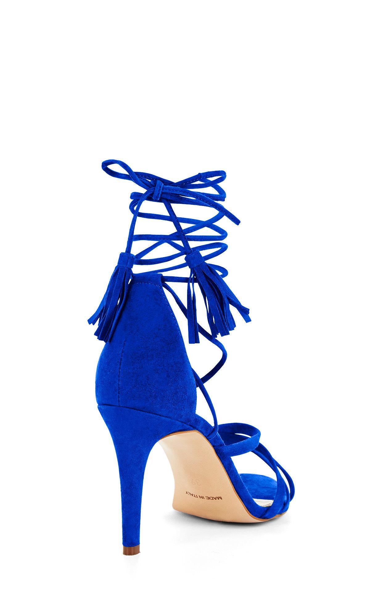 3bf2b0376c BCBGMAXAZRIA Lenita High-heel Suede Strappy Sandal in Blue - Lyst