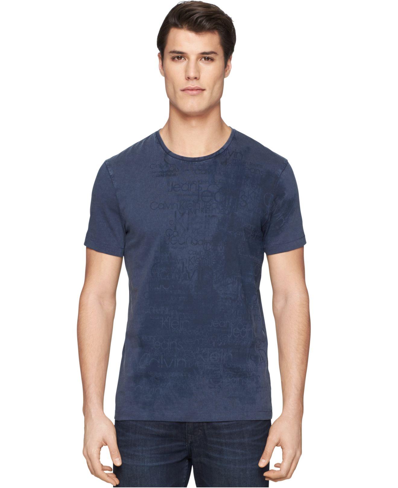 calvin klein jeans misty skies t shirt in blue for men lyst. Black Bedroom Furniture Sets. Home Design Ideas