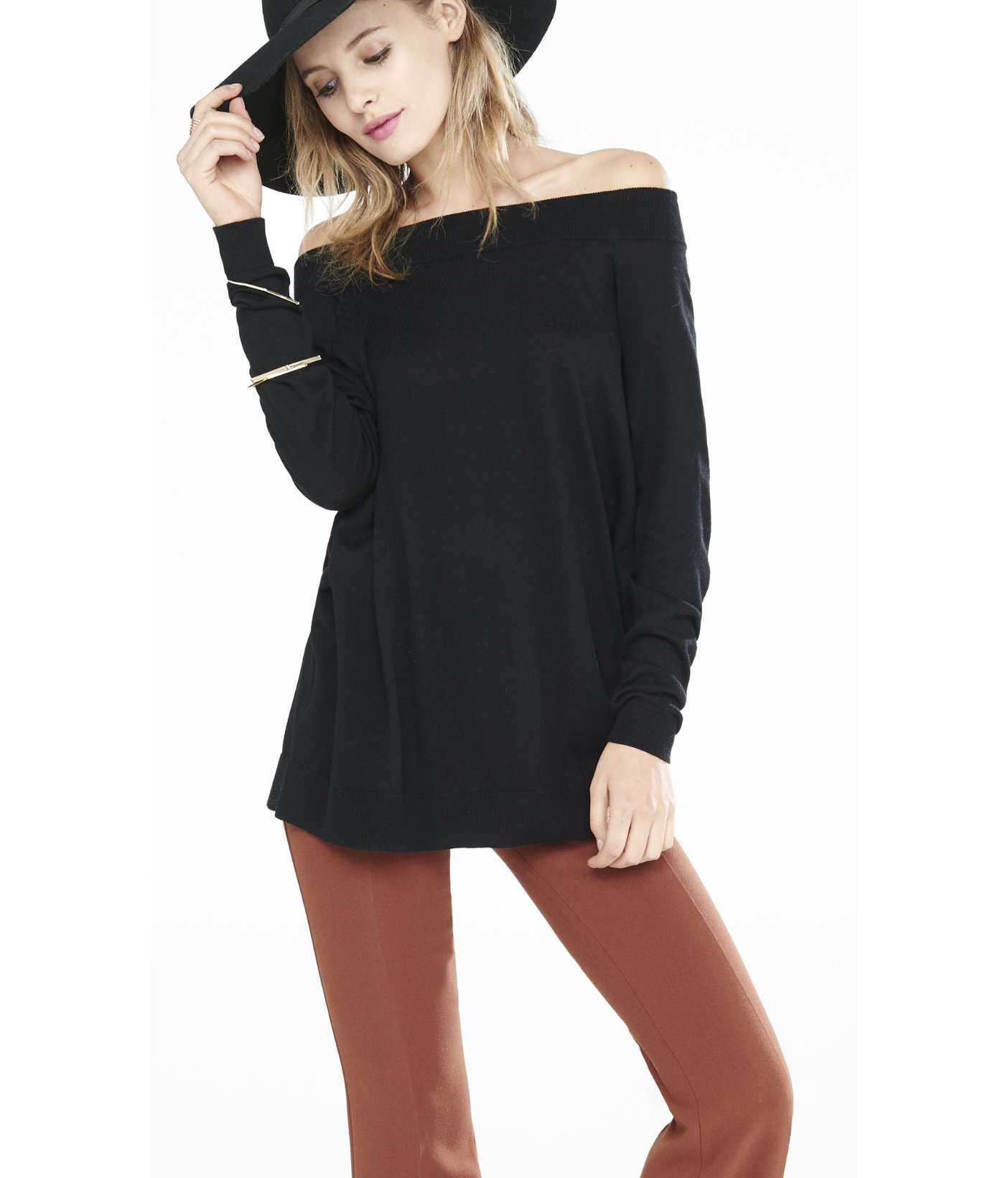Express Hint Of Cashmere Off The Shoulder Tunic Sweater in Black ...