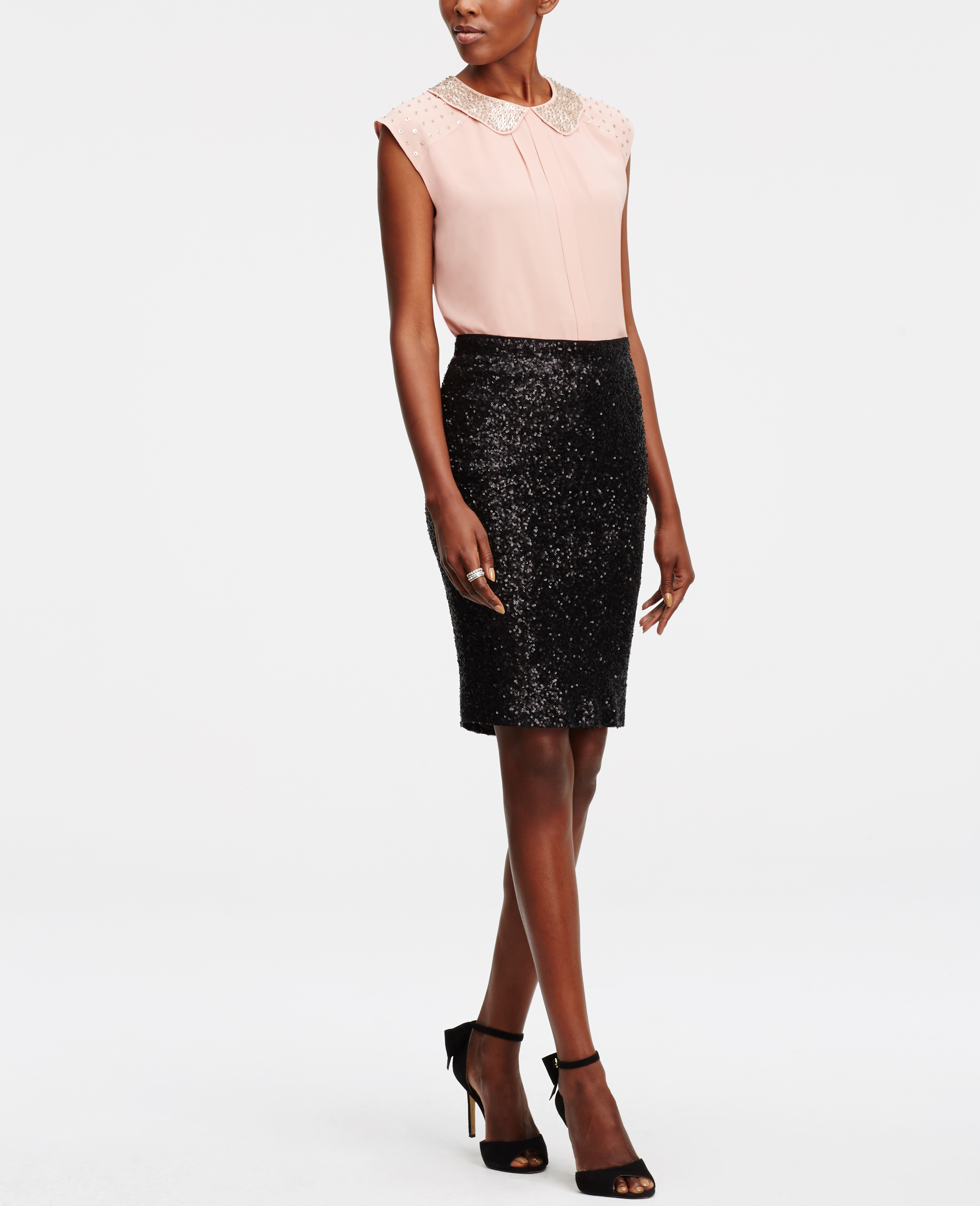 sequin pencil skirt in black lyst