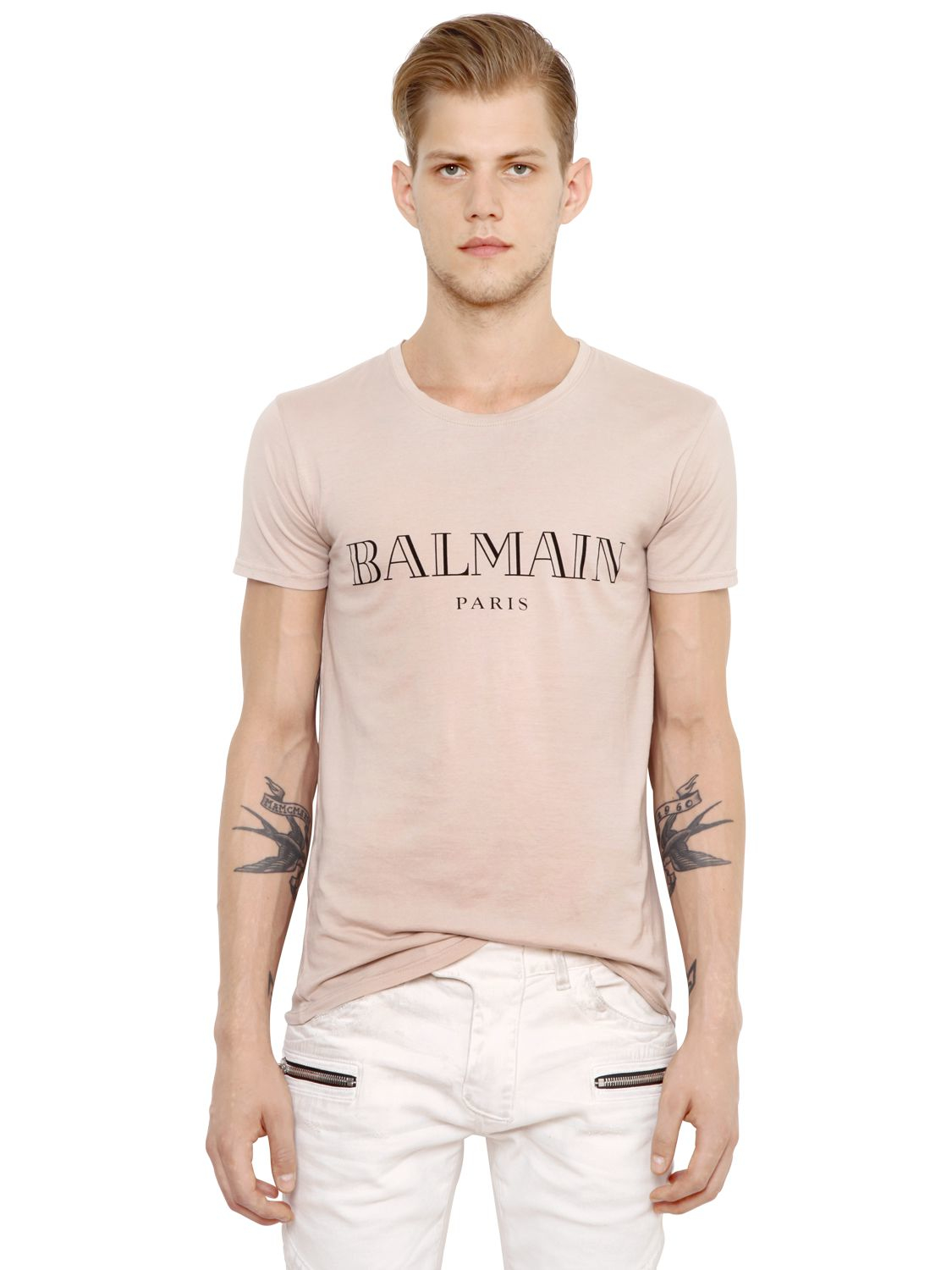 b971eebfcaf7 Lyst - Balmain Logo Printed Cotton Jersey T-shirt in Natural for Men