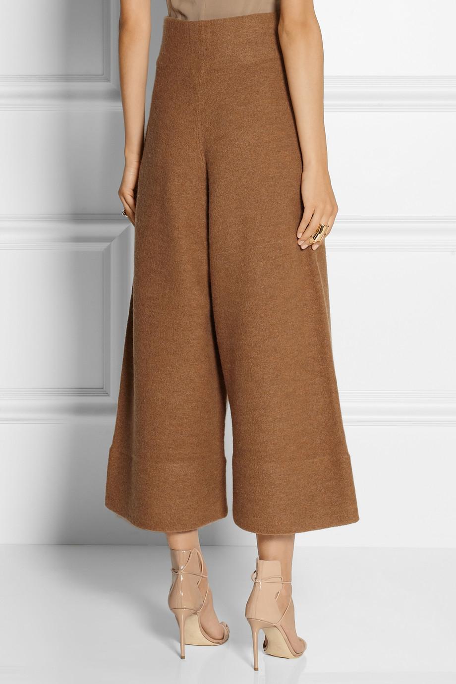 Acne studios Depend Cropped Boiled Wool Wide-Leg Pants in Brown | Lyst