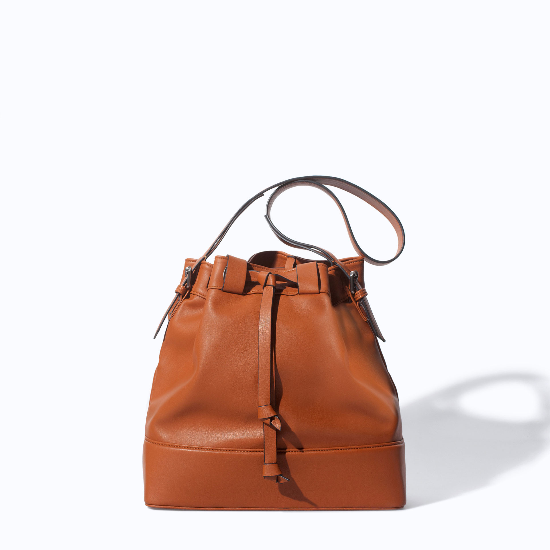 Zara Drawstring Bucket Bag In Brown Leather Lyst