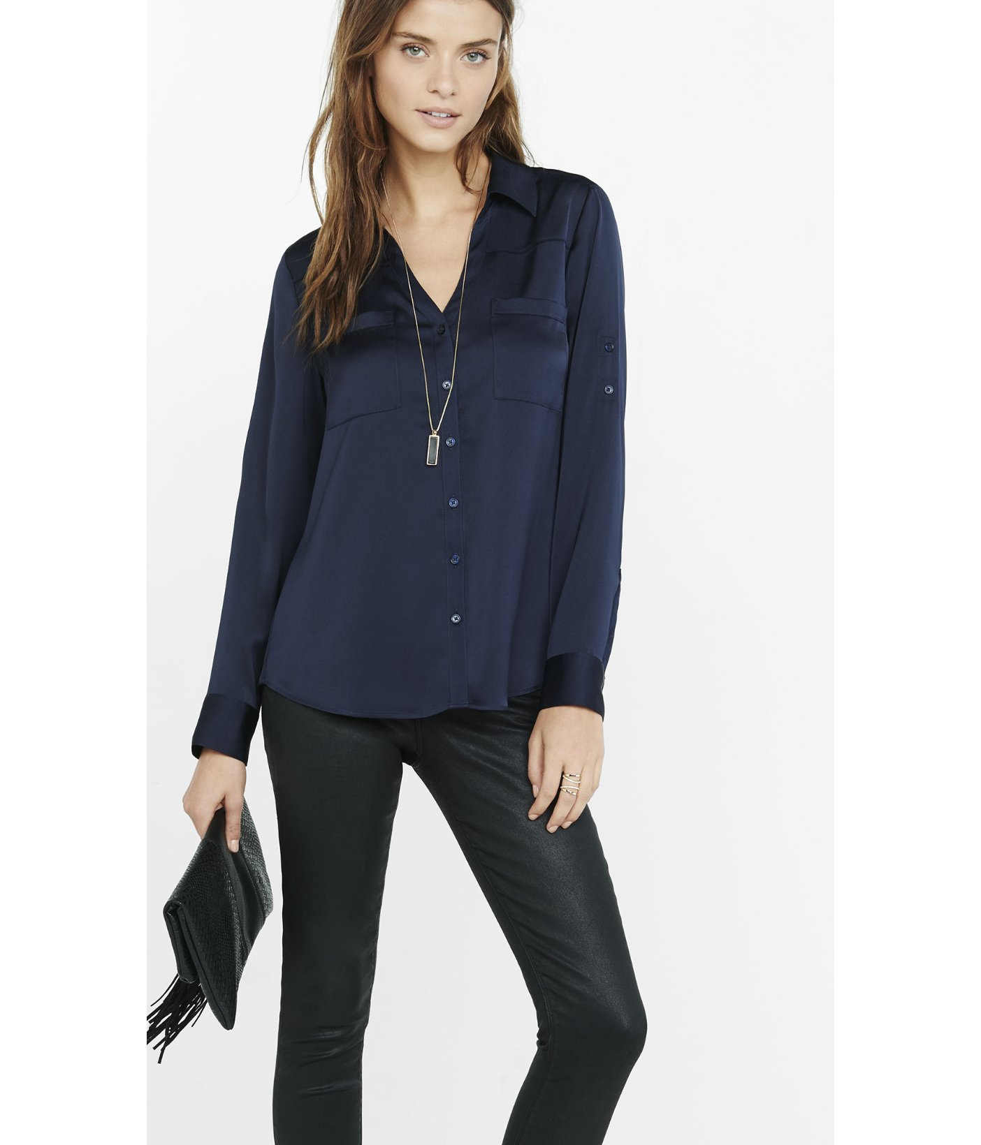 4f00cf92ba085 Express Original Fit Silky Crepe Portofino Shirt in Blue - Lyst