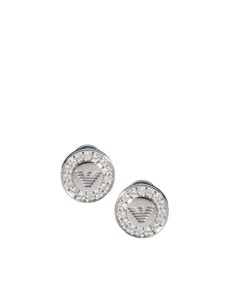 Emporio Armani Eagle Round Stud Earrings In Metallic For