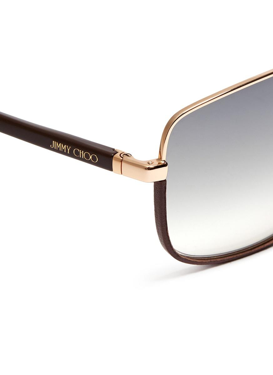 square aviator sunglasses  Jimmy choo Carry Leather Trim Square Aviator Sunglasses in ...