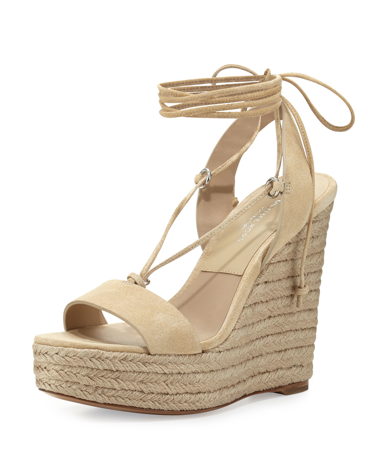 michael kors clive suede lace up wedge espadrille sandal