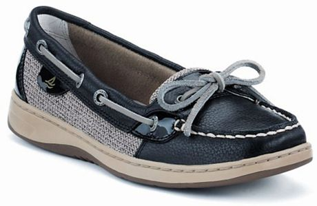 Sperry Top-sider Angelfish Leather Mesh Boat Shoes in Black