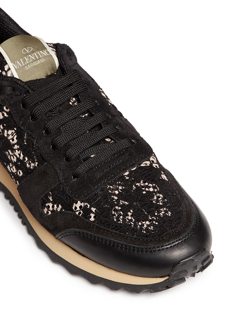 Lyst Valentino Leather Combo Lace Sneakers In Black