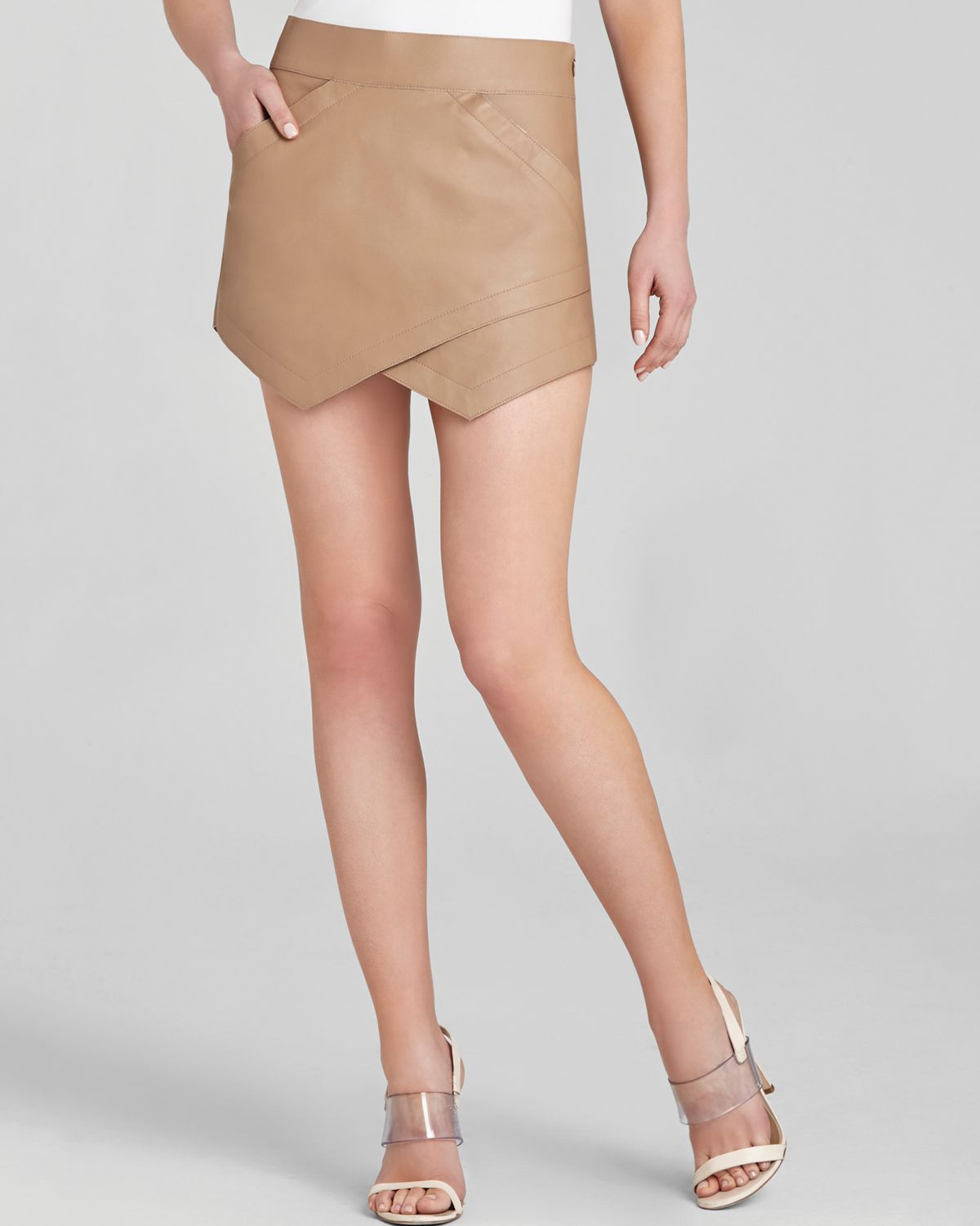 Bcbgmaxazria Skirt - Owen Faux Leather Asymmetric in Natural | Lyst
