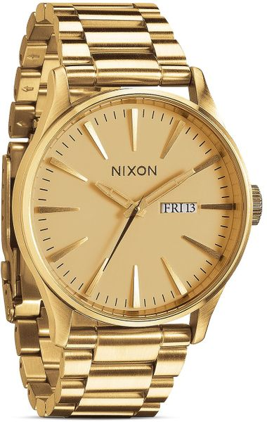 nixon the sentry ss 42mm in gold for lyst