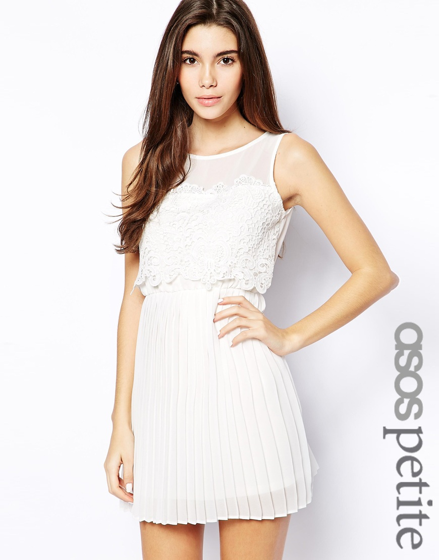 ASOS Exclusive Pretty Lace Top Pleated Skirt Dress