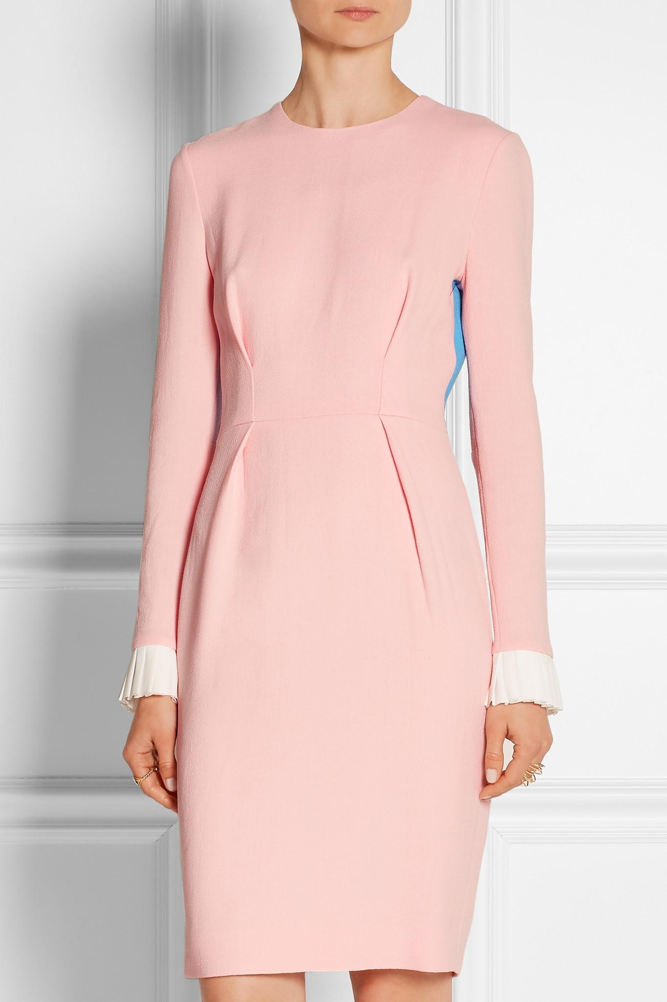 Roksanda color block wool blend crepe dress in blue baby for Non see through white dress shirt