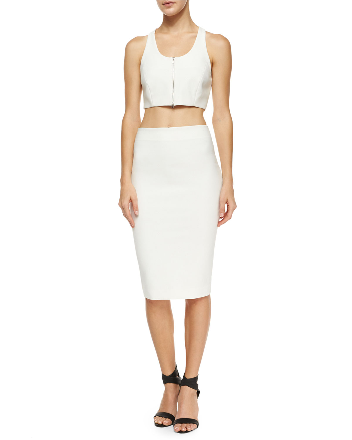 elizabeth and aisling stretch pencil skirt in white