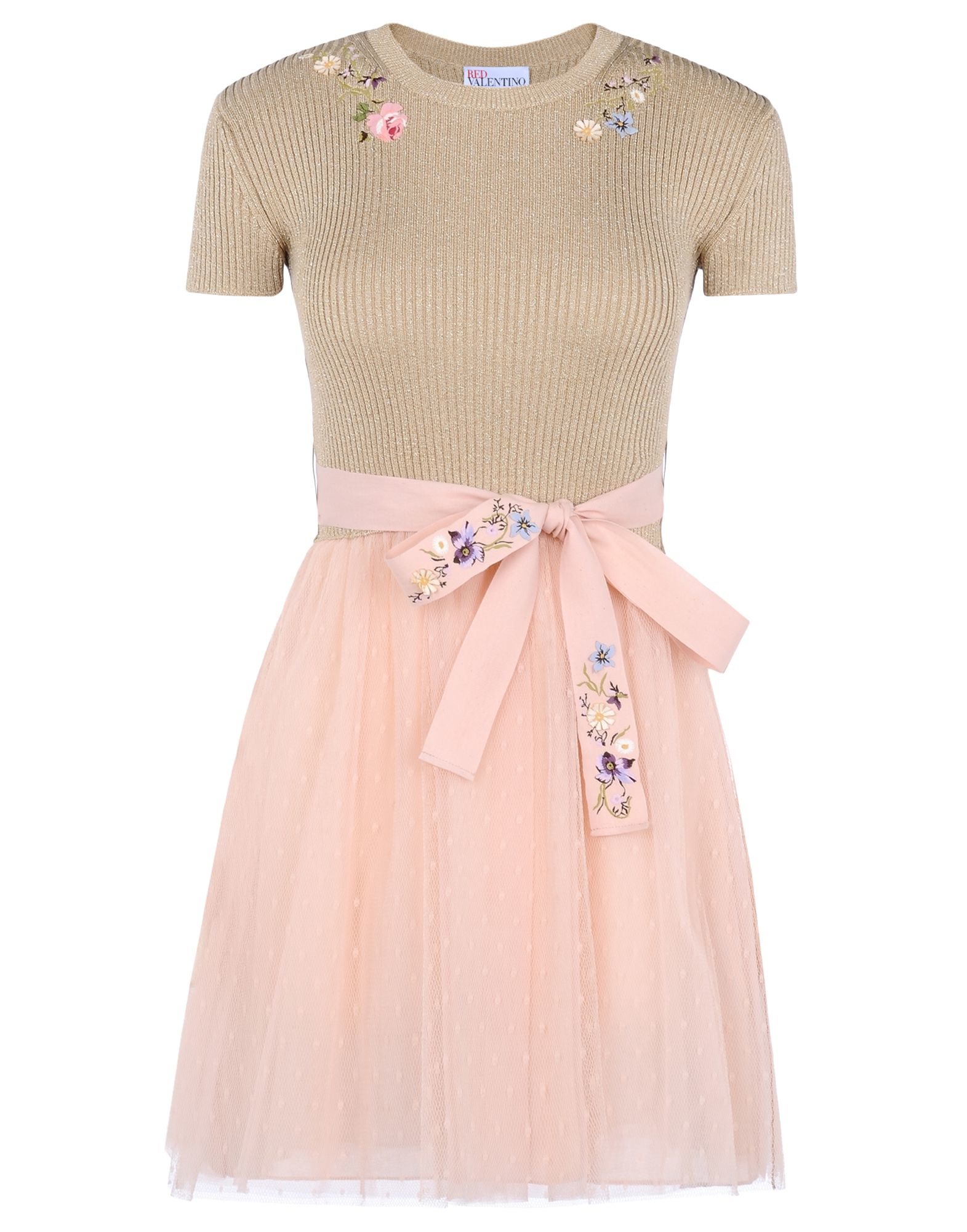 Red valentino tulle and cotton knit embroidered dress in