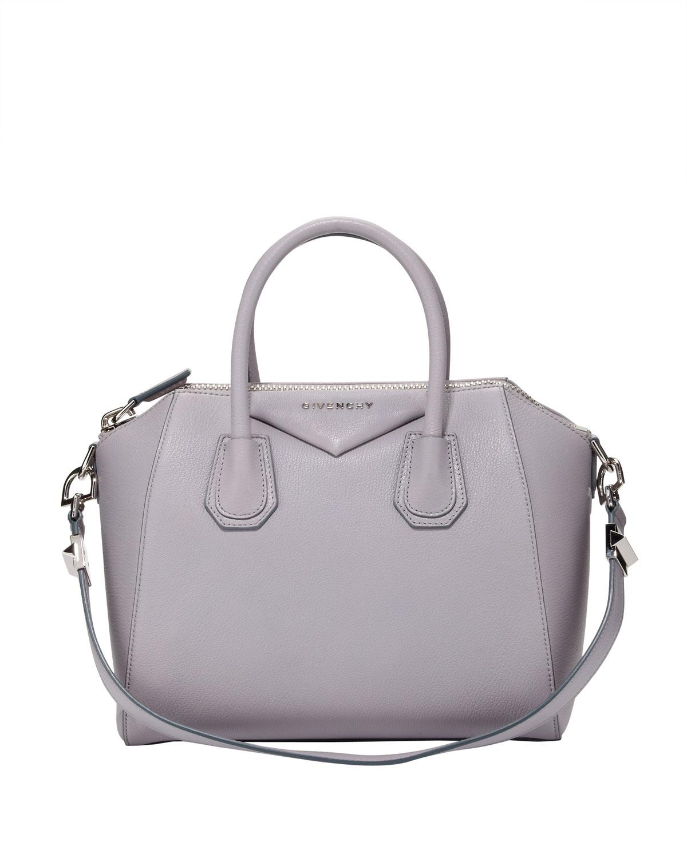 8e4d281e7049 Lyst - Givenchy Antigona Small Sugar Goatskin Satchel Bag Light Gray ...