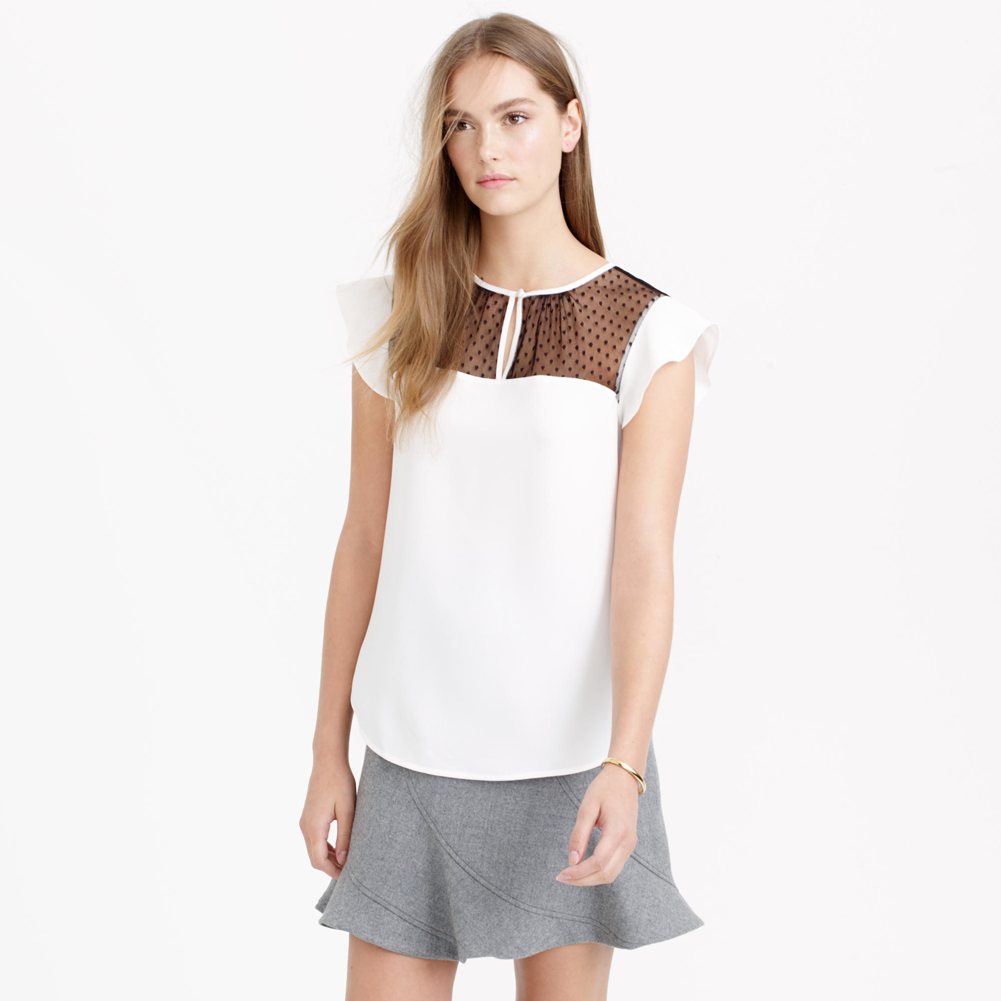 be9d7a367fbae6 J.Crew Swiss-dot Flutter-sleeve Top In Ivory in White - Lyst