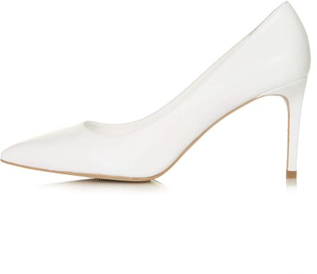 topshop golden mid heel court shoes in white lyst