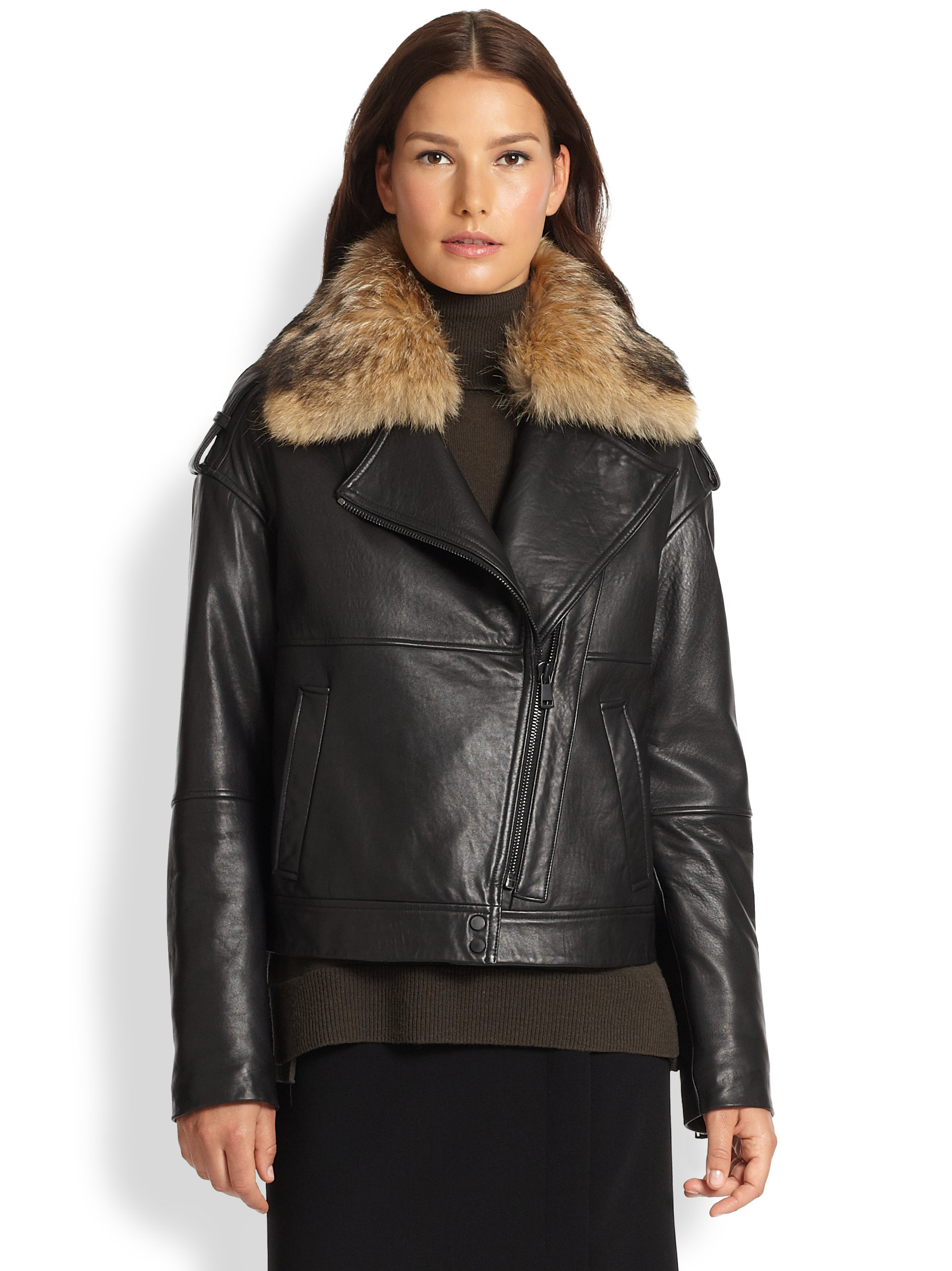 Vince Coyote Fur Collar Leather Jacket in Black | Lyst