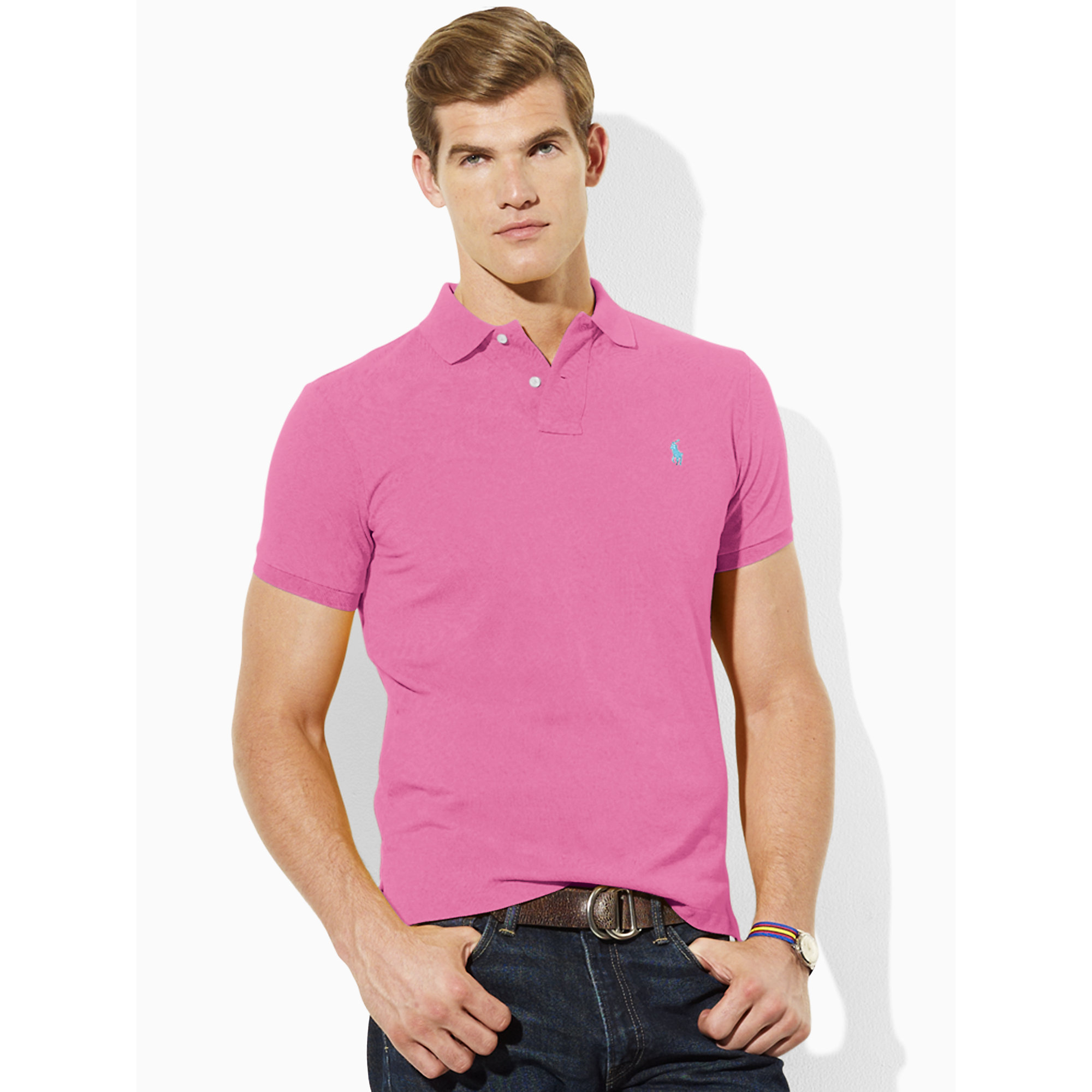Lyst Ralph Lauren Tall Custom Fit Polo In Pink For Men