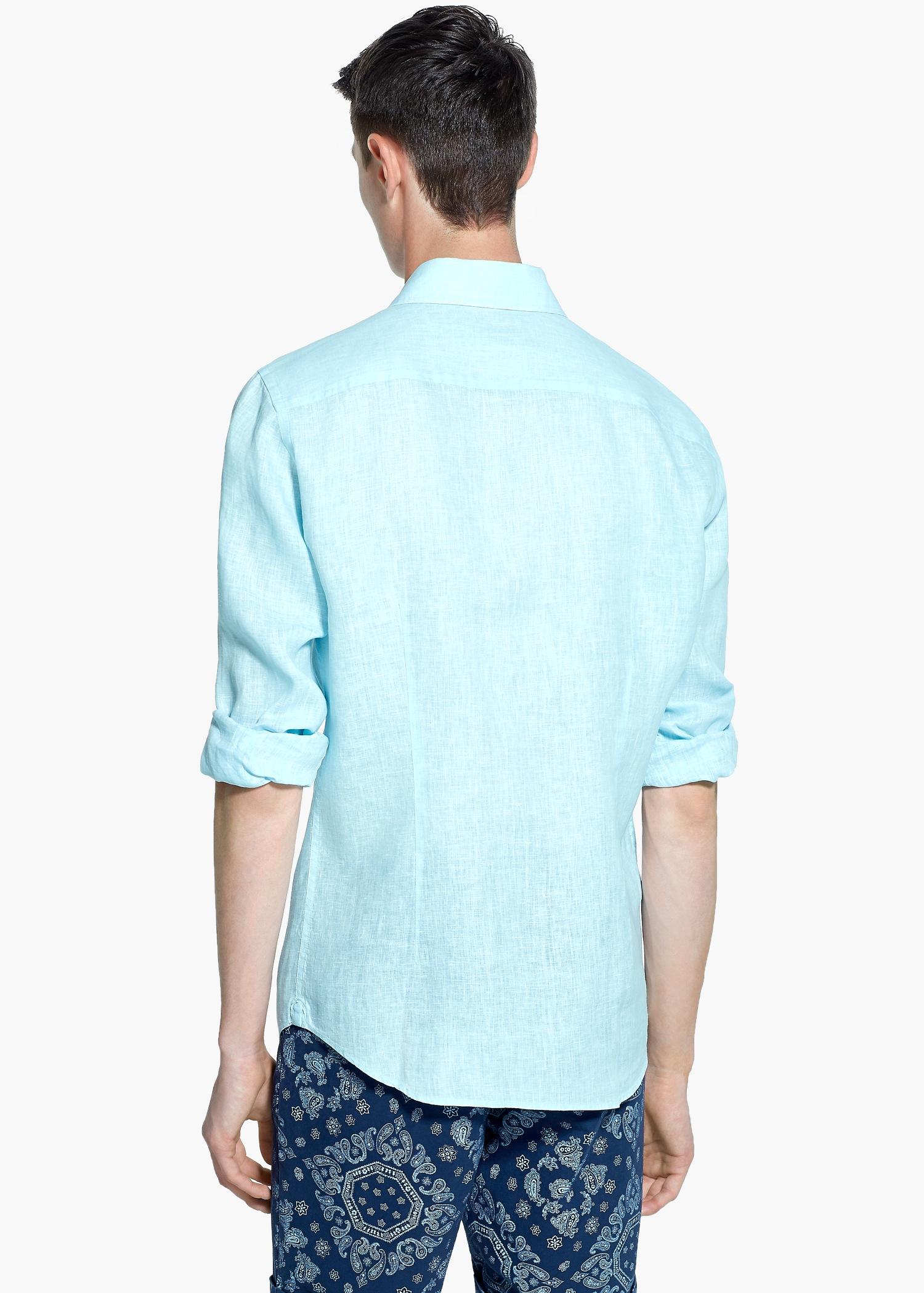 Mango slim fit linen shirt in green for men lyst for Aqua blue mens dress shirt