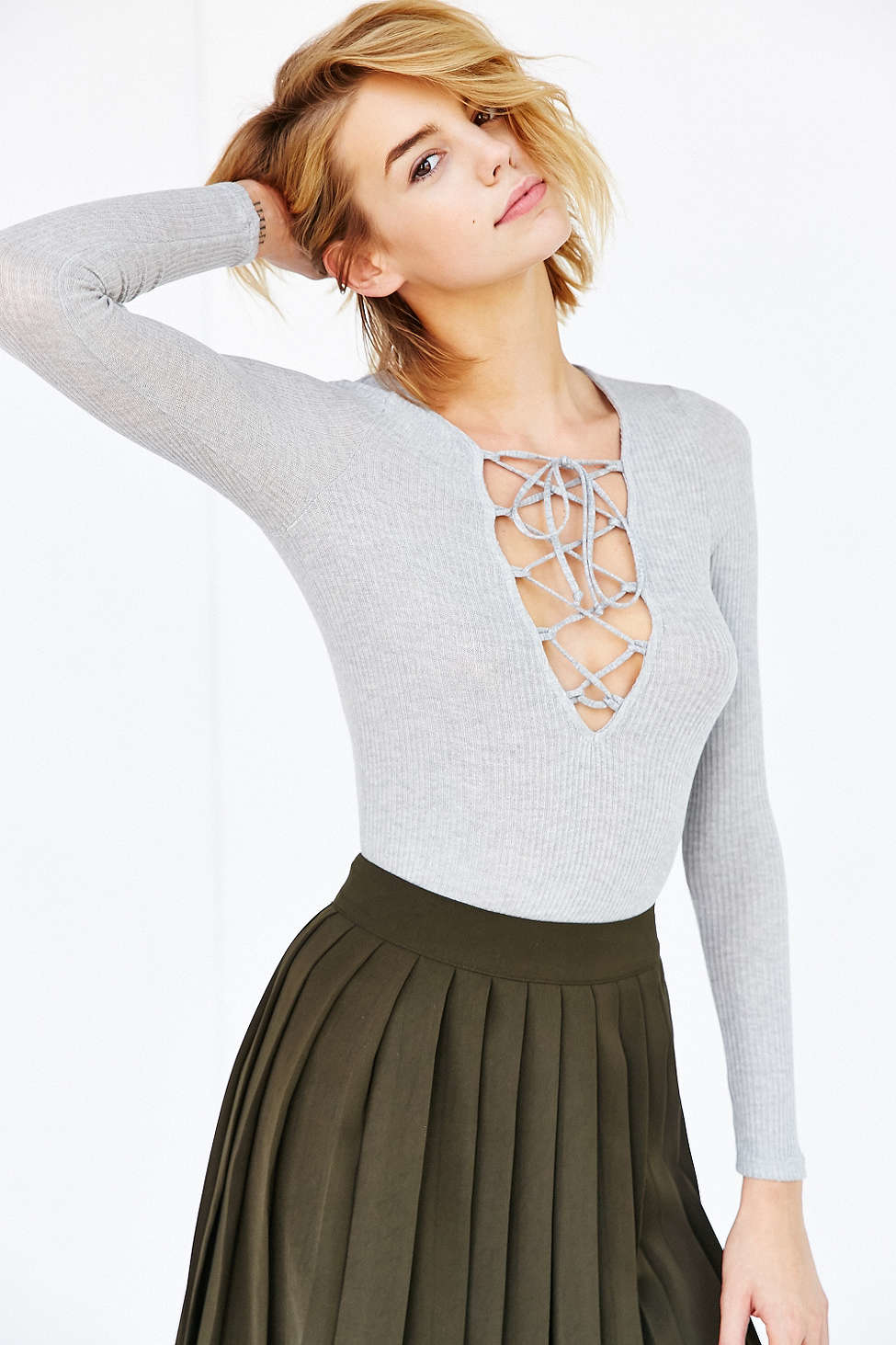 Project Social T Lace Up Jersey Top In Gray Lyst