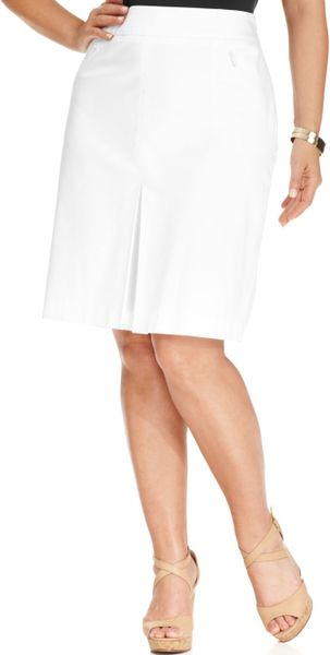 jones new york collection plus size pleated skirt in white