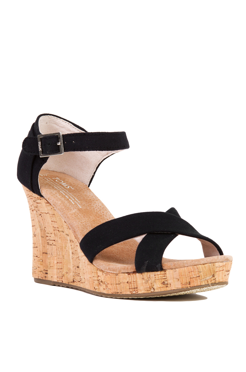 1fa1cf53214 Lyst - TOMS Strappy Black Canvas Cork Wedge Sandals in Black