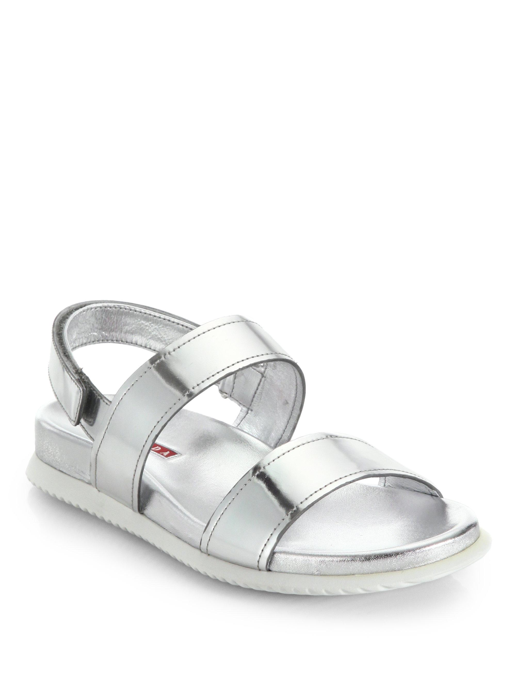 41f2bd135b48 Lyst - Prada Patent Leather Flat Sandals in Metallic