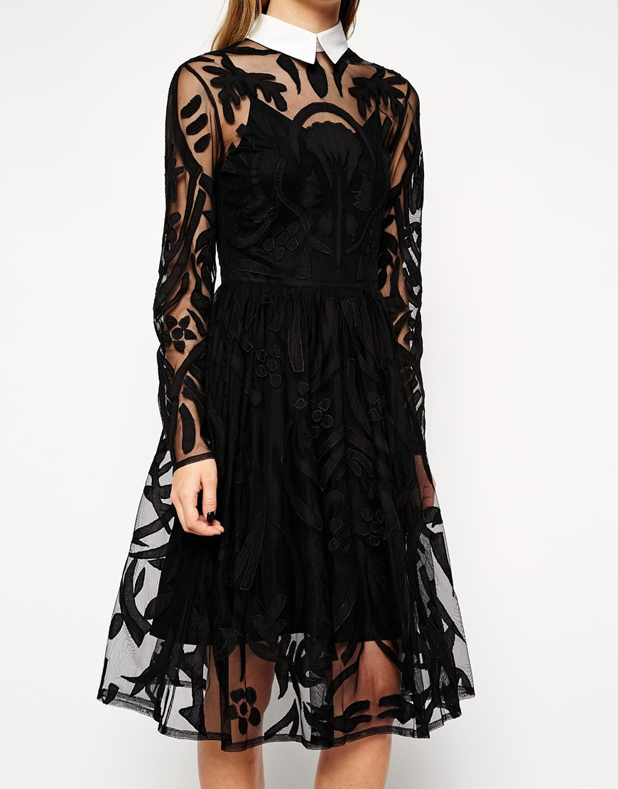 Lyst Asos Lace Applique Midi Dress With Collar In Black