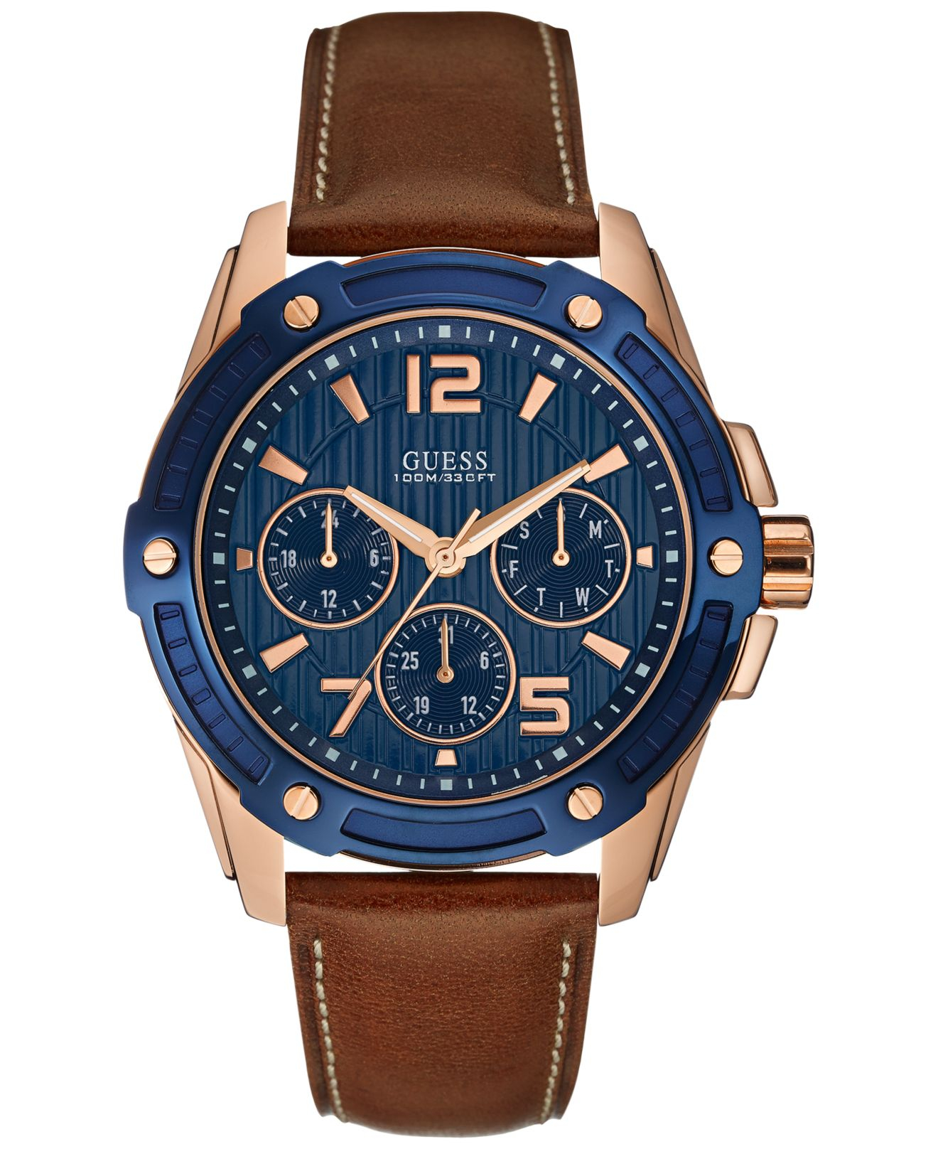 Lyst Guess Men S Brown Leather Strap Watch 45mm U0600g3