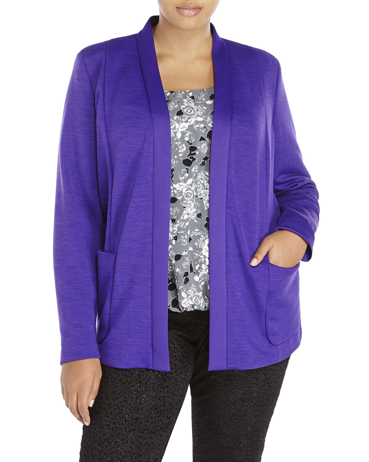 Marina rinaldi Plus Size Open Front Jacket in Purple