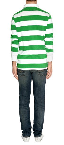 b6a2e7eae6fc Lyst - Ralph Lauren Signal Greenwhite Striped Cotton Rugby Shirt in ...
