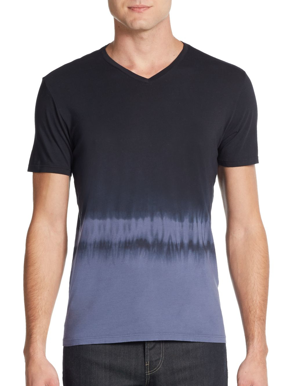 Vince Dip Dyed Pima Cotton Tee In Blue For Men Lyst