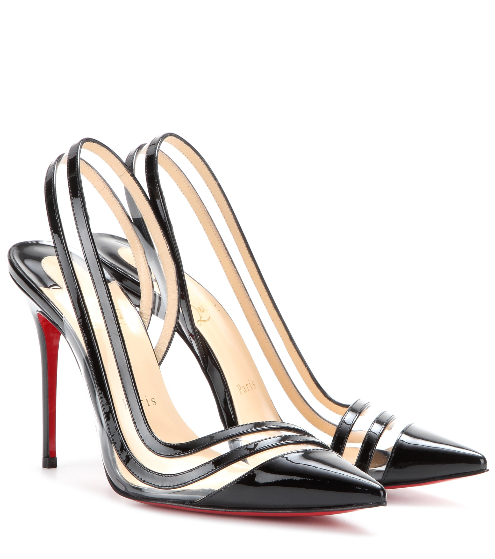 943c6cee83b ... get christian louboutin paralili patent leather and mesh pumps lyst  2ae00 7db84