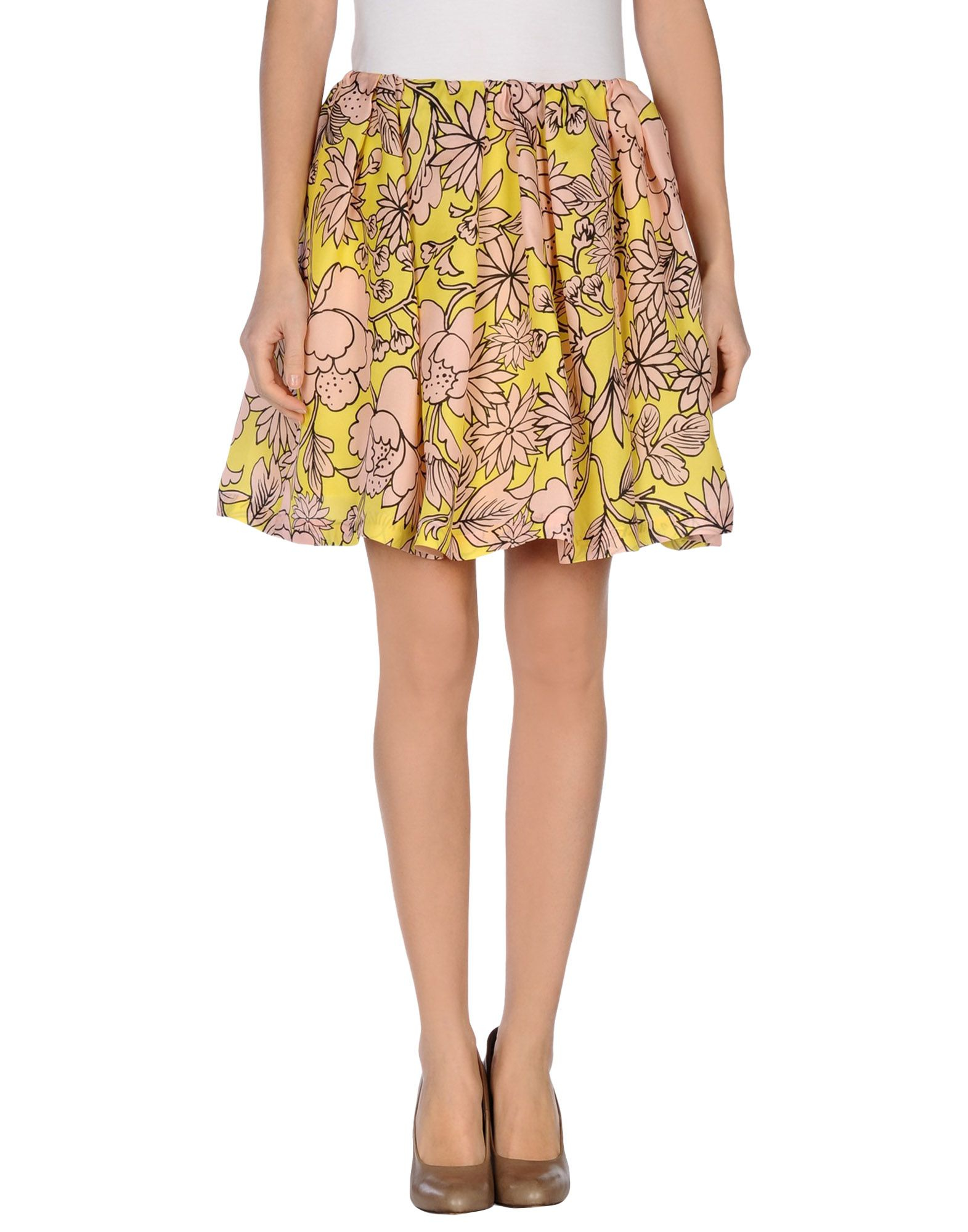 msgm knee length skirt in pink pastel pink lyst