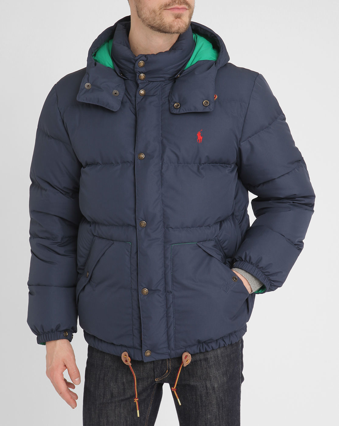 polo ralph lauren navy retro down jacket in blue for men. Black Bedroom Furniture Sets. Home Design Ideas