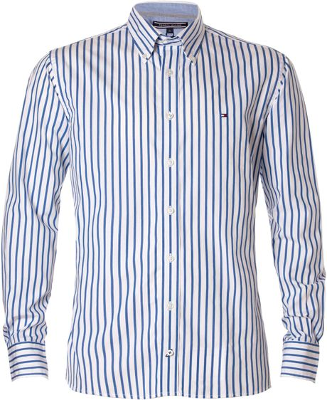 Tommy hilfiger houston stripe shirt in blue for men sea for Tommy hilfiger fitzgerald striped shirt
