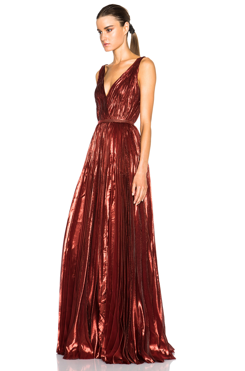 Lyst J Mendel Lurex Chiffon Deep V Neck Gown In Red
