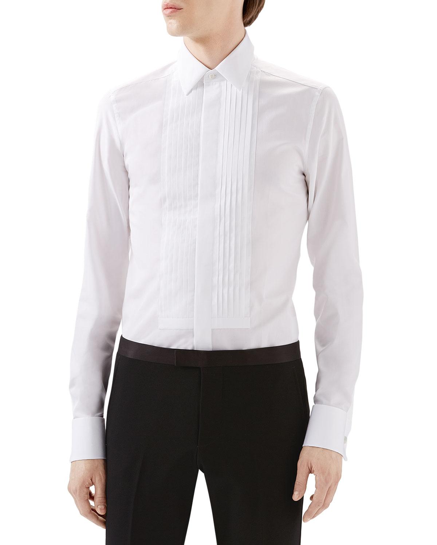 Gucci White Tux Pleated Bib Shirt W French Cuffs In White