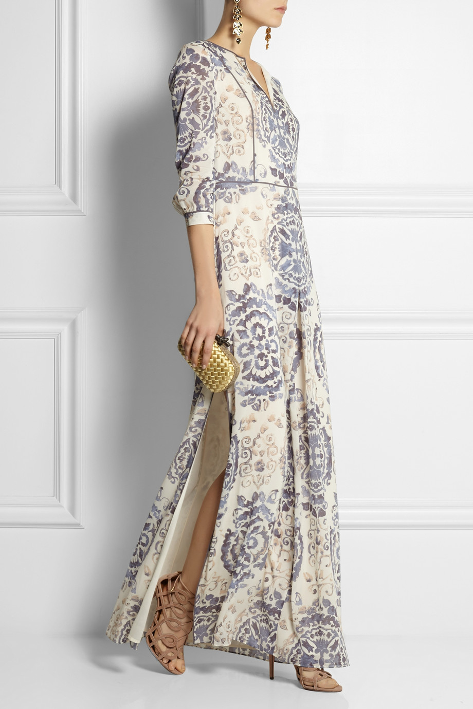 Tory burch Sabrina Printed Stretch-Silk Georgette Maxi Dress in ...