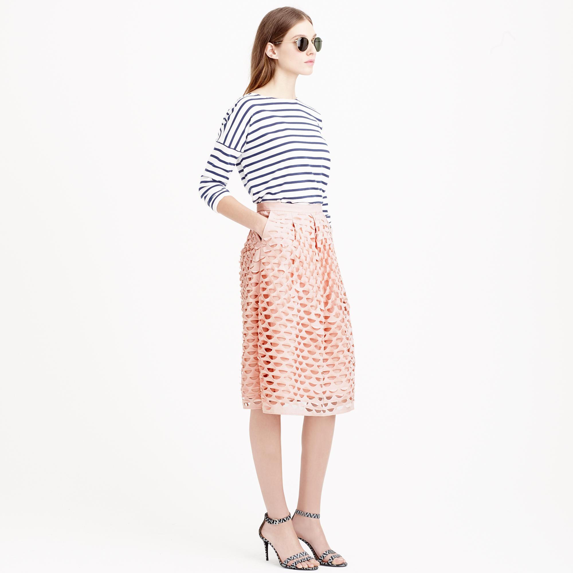 j crew laser cut circle midi skirt in pink lyst
