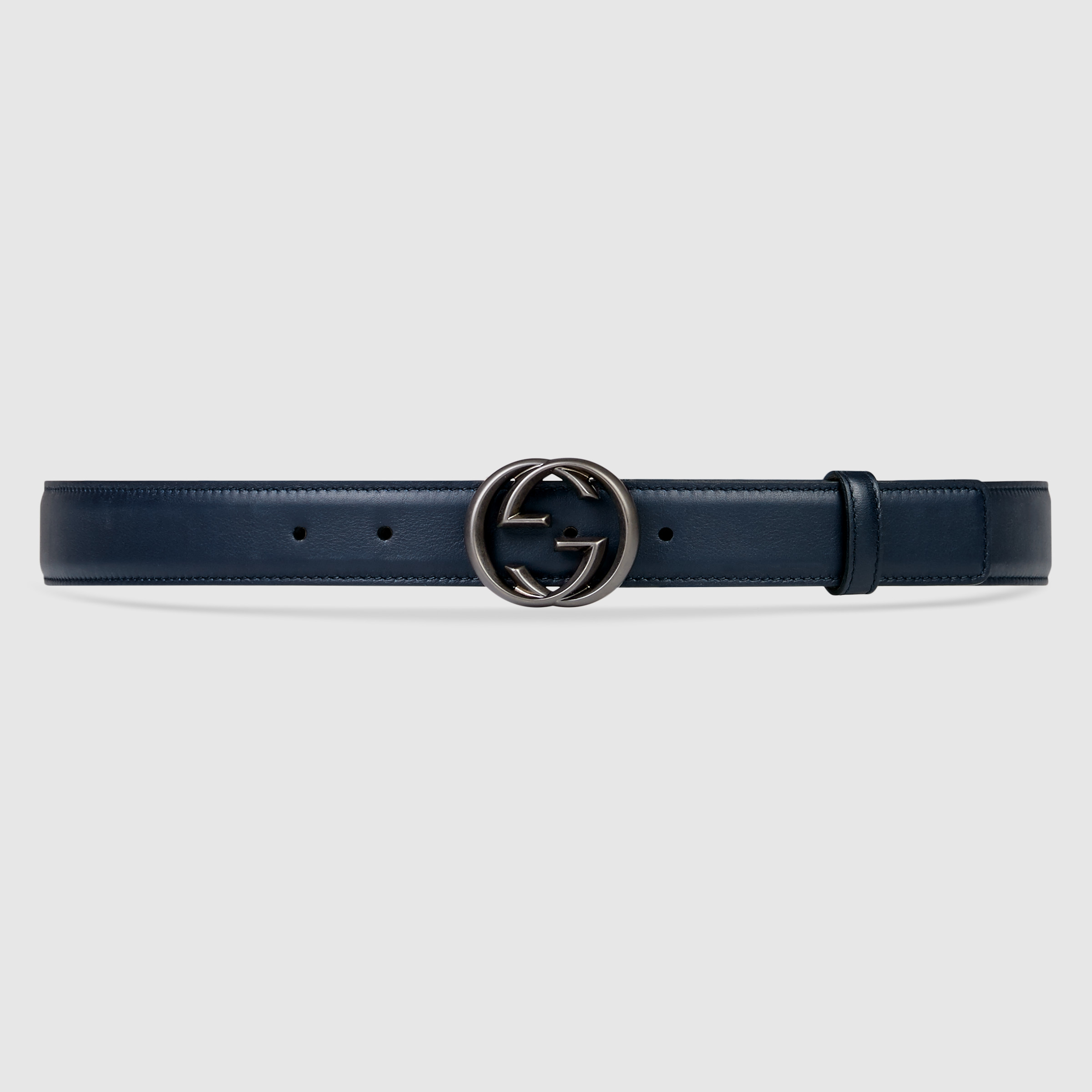 gucci leather belt with interlocking g for lyst