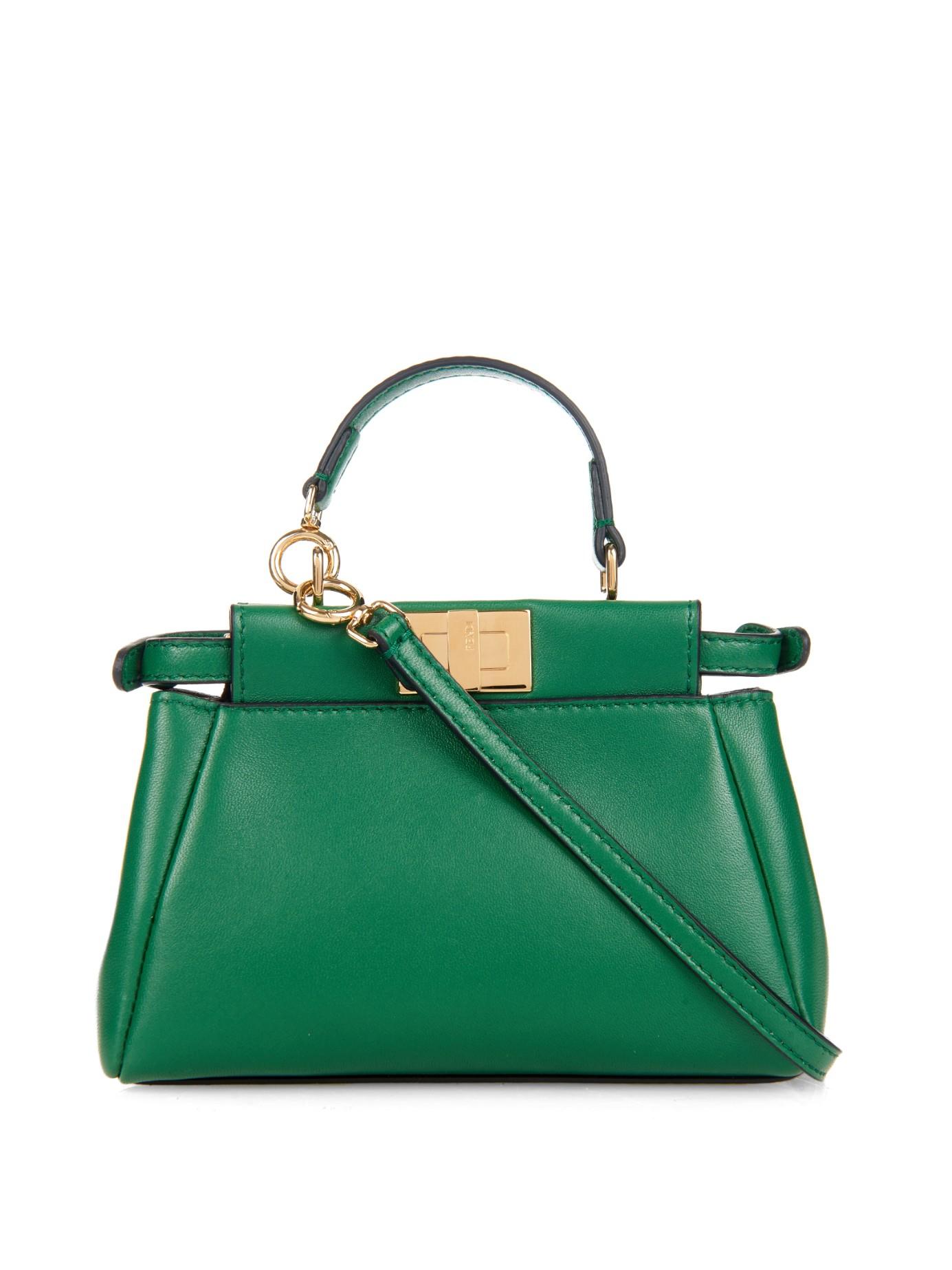 c227a86bb5 Fendi Micro Peekaboo Cross-Body Bag in Green - Lyst