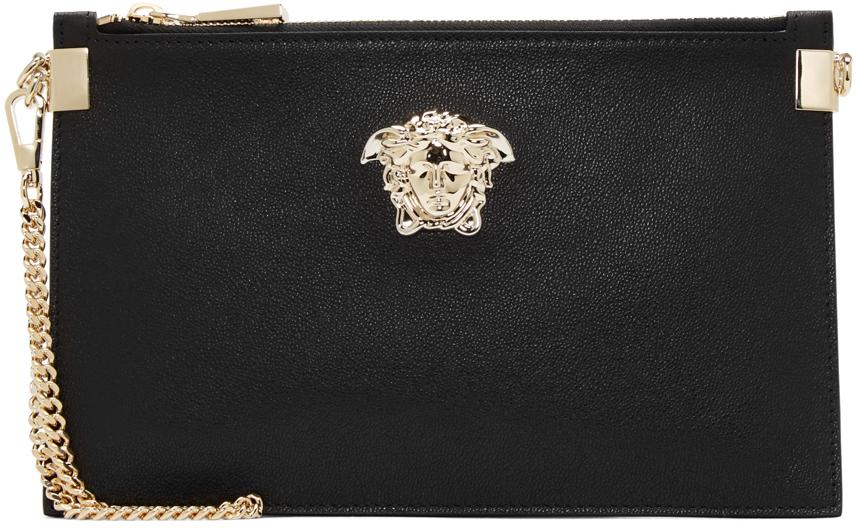 760d31e57285 Versace Black Leather Medusa Medallion Pouch in Black - Lyst